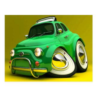 Mini carro dos desenhos animados verdes bonitos cartão postal