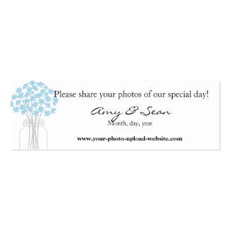 Mini cartão da flor azul cartão de visita skinny