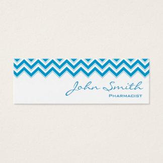 Mini cartão de visita azul do farmacêutico do
