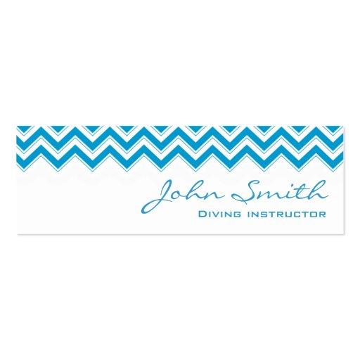 Mini cartão de visita azul do mergulho do ziguezag