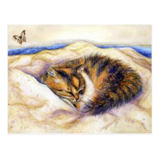Mini cartão do sono do gato de chita da arte