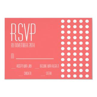 Mini cartões das bolinhas RSVP (coral) Convite 8.89 X 12.7cm
