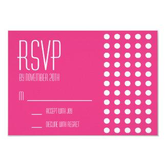 Mini cartões das bolinhas RSVP (rosa escuro) Convite 8.89 X 12.7cm