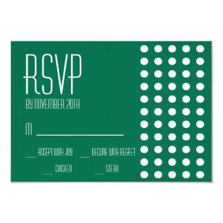Mini cartões das bolinhas RSVP (verde) Convite Personalizado