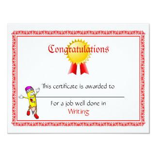 Mini certificados feitos sob encomenda do prêmio convite 10.79 x 13.97cm