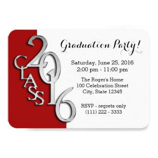 Mini classe de 2016 vermelhos e de prata convite 8.89 x 12.7cm