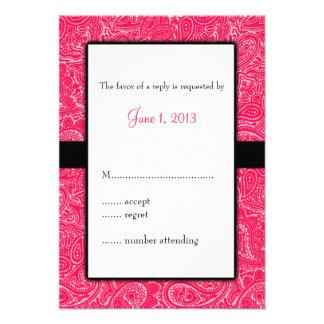 Mini convite cor-de-rosa RSVP do casamento de Pais