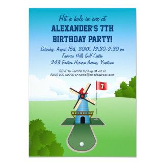 Mini convite de festas do moinho de vento do golfe