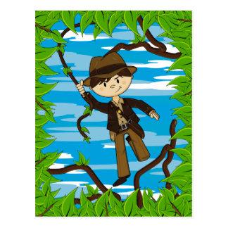 Mini explorador no cartão da videira da selva