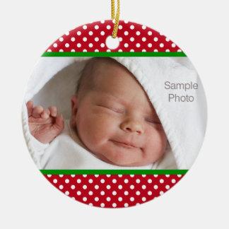 Mini foto branca vermelha do bebê do Natal das Ornamento De Cerâmica Redondo
