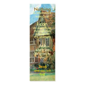 Mini marcador da oração cartões de visitas