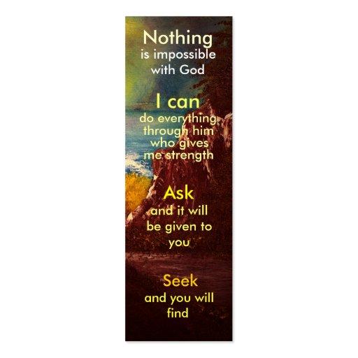 Mini marcador da oração cartoes de visita
