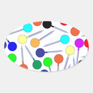 Mini pinos da cabeça do botão adesivo oval