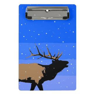 Mini Prancheta Alces de Bugling no inverno - arte original dos