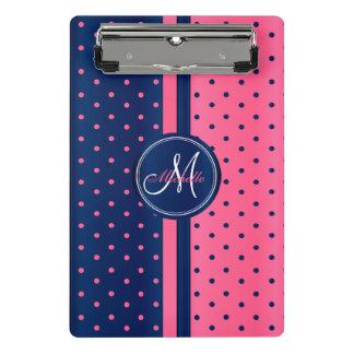 Mini Prancheta Azuis marinhos & bolinhas cor-de-rosa - monograma