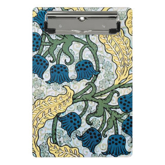 Mini Prancheta Azul que repete o teste padrão floral