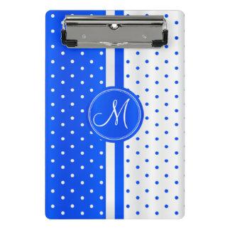 Mini Prancheta Bolinhas azuis & brancas - monograma