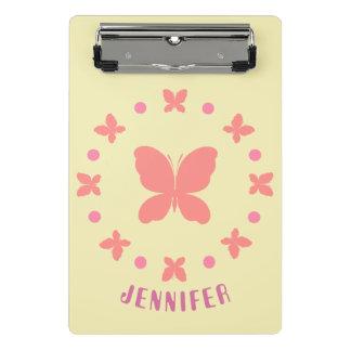 Mini Prancheta borboletas cor-de-rosa bonitos femininos do estilo