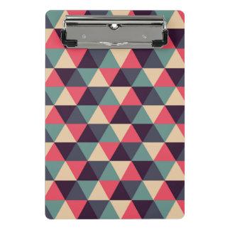 Mini Prancheta Cerceta e teste padrão cor-de-rosa do triângulo