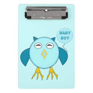 Mini prancheta da coruja azul bonito do bebé