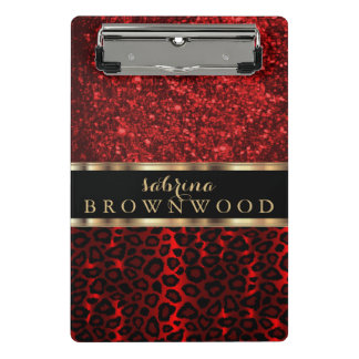 Mini Prancheta Escuro - teste padrão vermelho da pele do leopardo