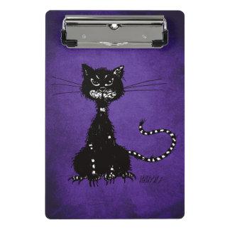 Mini Prancheta Gato preto mau áspero roxo escuro
