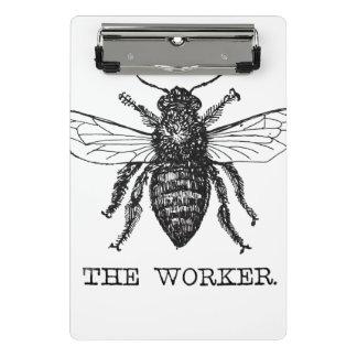 Mini Prancheta Ilustração da arte preta do vintage da abelha da