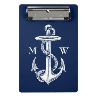 Mini Prancheta Monograma branco dos azuis marinhos da corda da