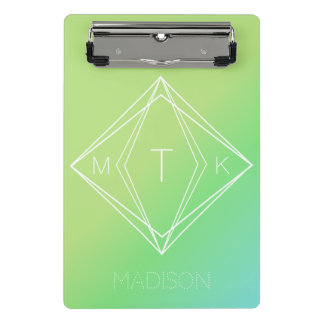 Mini Prancheta Monograma geométrico moderno | verde, inclinação