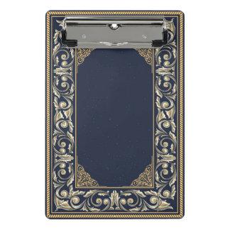 Mini Prancheta Nouveau da arte, azul marinho, ouro, antiguidade,