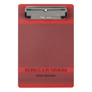 Mini Prancheta Olhar de couro vermelho na moda