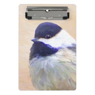 Mini Prancheta Pintura do Chickadee - arte original do pássaro