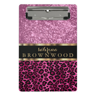 Mini Prancheta Teste padrão cor-de-rosa da pele do leopardo e