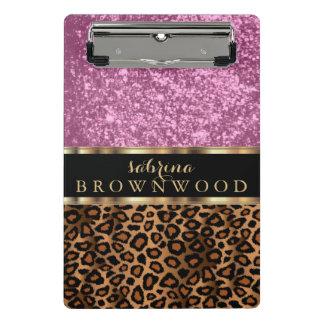Mini Prancheta Teste padrão da pele do leopardo de Brown e brilho