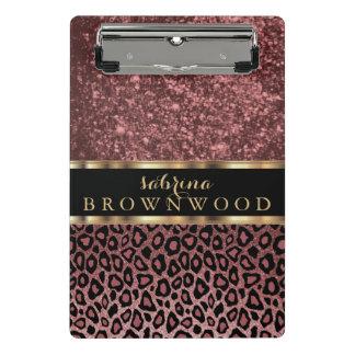 Mini Prancheta Teste padrão da pele do leopardo e brilho