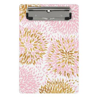 Mini Prancheta Teste padrão floral moderno, ouro, rosa, branco,