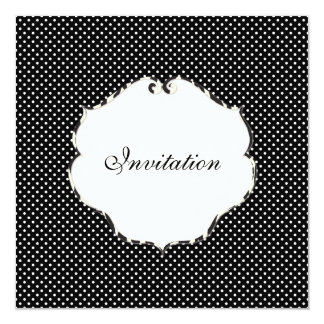 Mini preto liso dos pontos + branco/quadro da convites personalizado