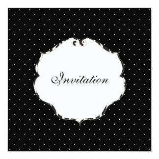 Mini preto liso dos pontos + branco/quadro da convite quadrado 13.35 x 13.35cm