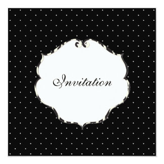 Mini preto liso dos pontos + branco/quadro da convite personalizado