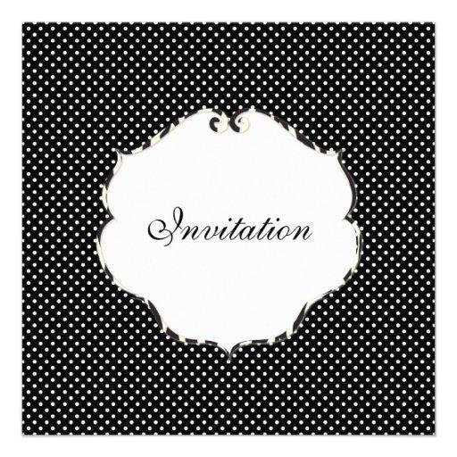 Mini preto liso dos pontos + branco/quadro da zebr convites personalizado