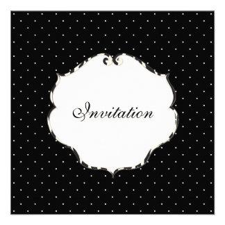 Mini preto liso dos pontos + branco/quadro da zebr convite personalizado