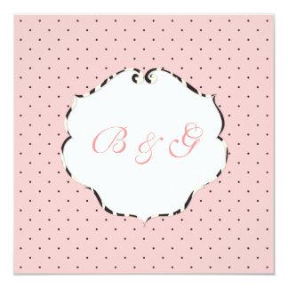 Mini rosa liso dos pontos + branco/quadro da zebra convite quadrado 13.35 x 13.35cm