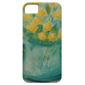 Mini rosas amarelos no vaso de vidro azul capa barely there para iPhone 5