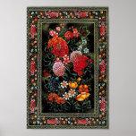 Miniatura floral de gran colorido del arte persa pôster