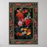 Miniatura persa de preciosas flores brillantes poster