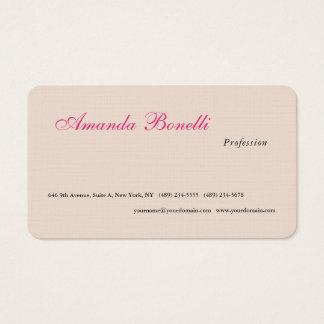 Minimalista liso cor-de-rosa de linho luxuoso de cartão de visitas