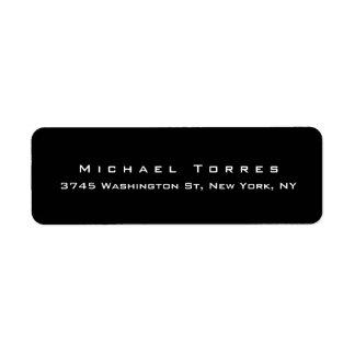 Minimalista preto na moda elegante liso moderno etiqueta endereço de retorno