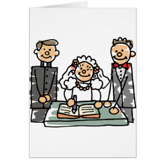 Ministro livro do padre do noivo da noiva do casam cartão comemorativo
