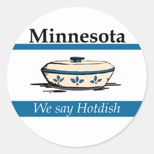 Minnesota: Nós dizemos Hotdish Adesivos Em Formato Redondos