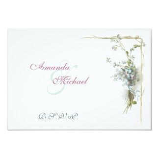 Miosótis azuis e cor-de-rosa convite 8.89 x 12.7cm